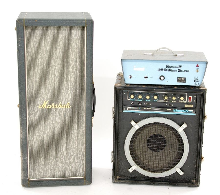 Lot Number 504. Pete Overend Watts (Mott the Hoople) - Marshall 2 x 12 column speaker cabinet. Auctioned at Entertainment Memorabilia, Guitar Amps & Effects on 12th March 2020