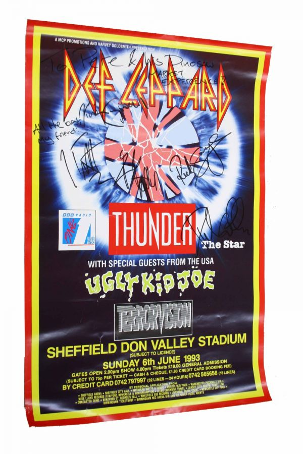 Lot Number 518. Def Leppard - concert poster for Def Leppard with support from Thunder, Ugly Kid Joe and Terrorvision at the Sheffield Don Valley Stadium, Sunday 6th June 1993, autographed by members of Def Leppard with personalised inscription to Pete Overend Watts *From the estate of Pete Overend Watts (Mott the Hoople). Auctioned at Entertainment Memorabilia, Guitar Amps & Effects on 12th March 2020