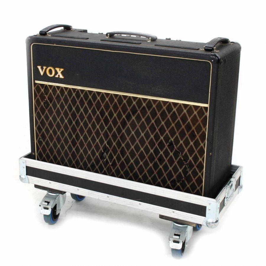Lot Number 638. 1970s Vox AC30TB guitar amplifier, made in England, ser. no. 25943, within a fitted flight case *General service carried out in 2015, one valve mount repaired, re-valved, standby switch fitted. Auctioned at Entertainment Memorabilia, Guitar Amps & Effects on 12th March 2020