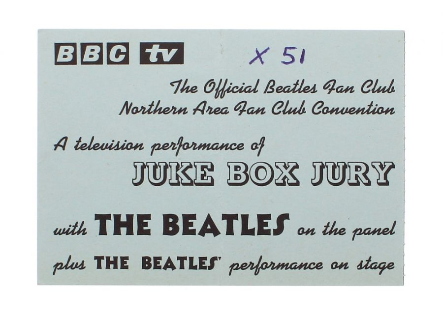 Lot Number 346. The Beatles - rare BBC TV Jukebox Jury ticket no. 51, at the Empire Theatre, Liverpool on Saturday 7th December 1963. Auctioned at The Guitar Auction on 25th June 2020