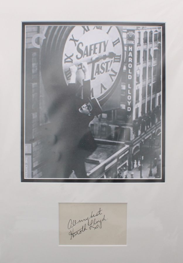 Lot Number 358. Harold Lloyd - mounted autograph and picture, 17
