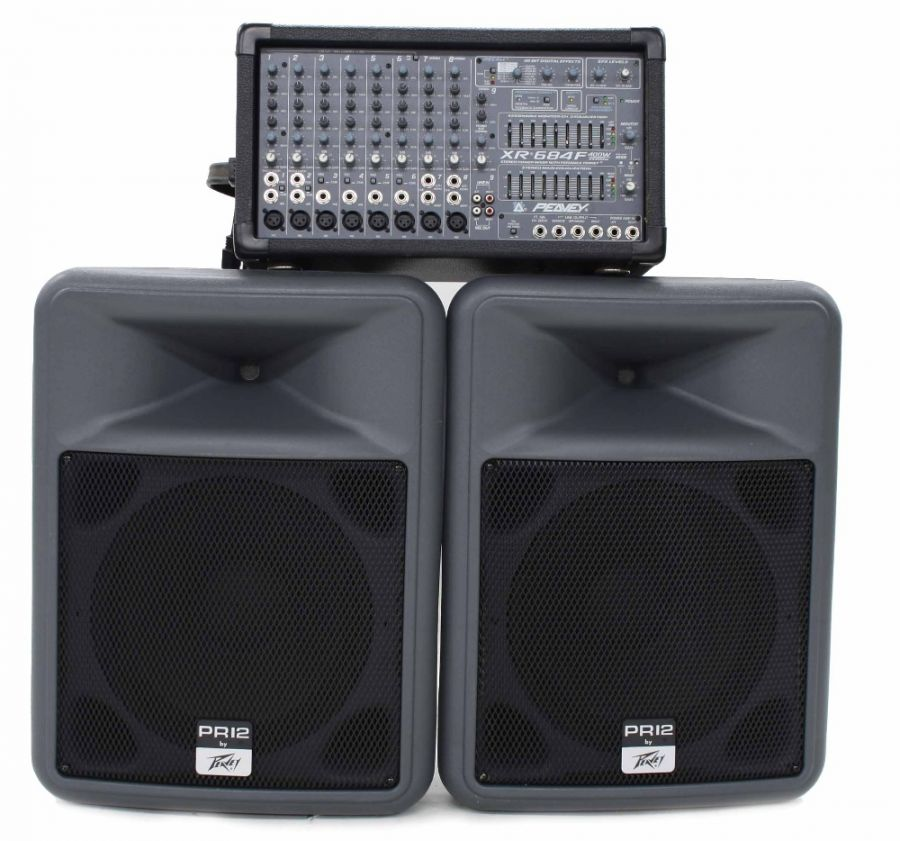 Lot Number 760. Pair of Peavey PR12 Speakers with a Peavy XR684F 2x200 Watt 8-Channel Powered Mixer. Auctioned at The Guitar Auction on 25th June 2020