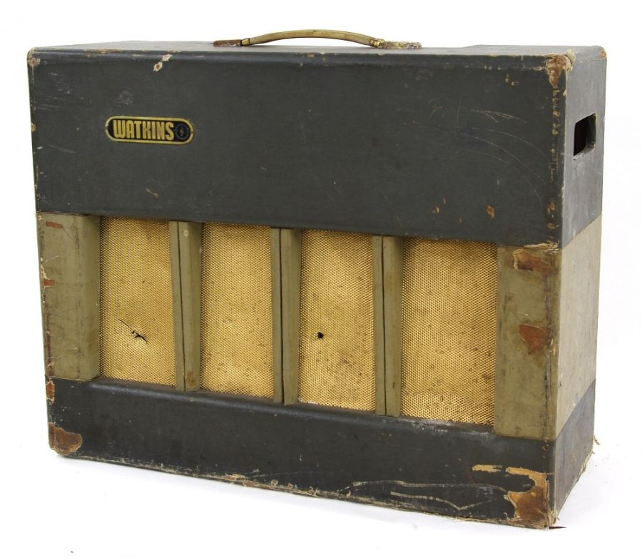 Lot Number 527. Early 1960s Watkins Monitor guitar amplifier, made in England, driven by a Watkins Power 30 Drive Unit, fitted with one Watkins Goodmans 12