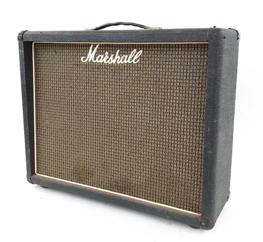 Lot Number 540. 1970s Marshall 2x12 guitar amplifier speaker cabinet, made in England, ser. no. A01271, fitted with replacement Eminence 12