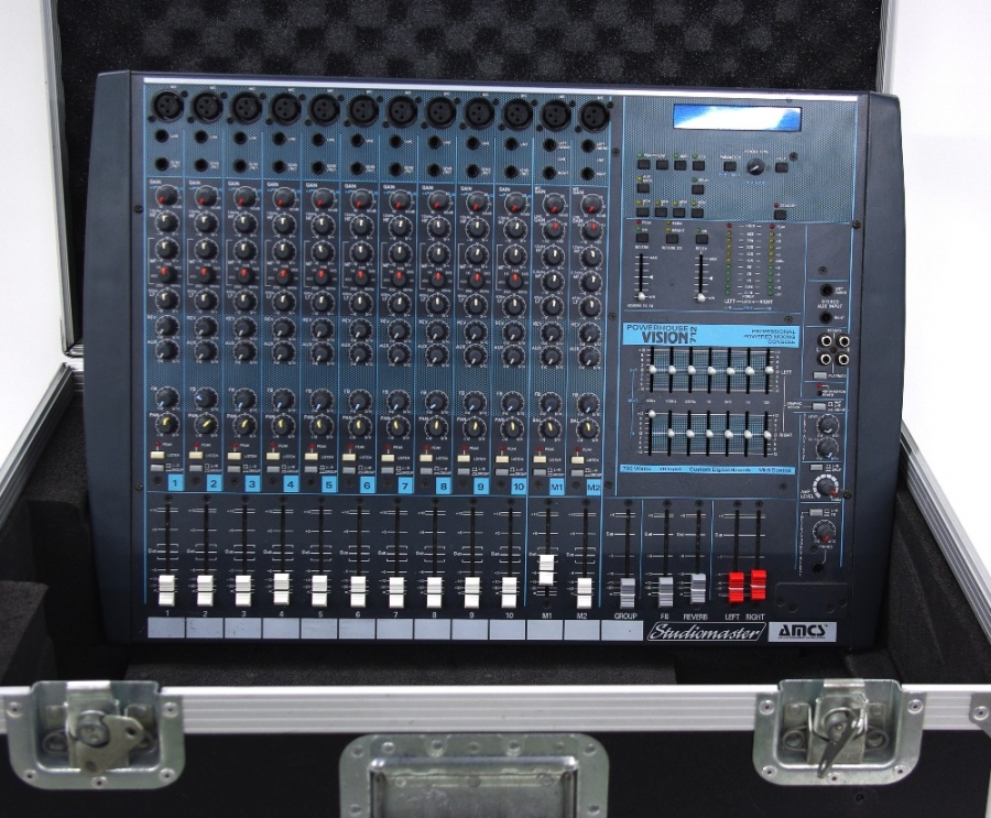 Lot Number 1006. Studiomaster Powerhouse Vision 712 professional powered mixing console, within a heavy duty flight case and with Speakon speaker cables. Auctioned at Entertainment Memorabilia, Guitar Amps & Effects - Including The Bernie Marsden Collection: Part I on 10th December 2020