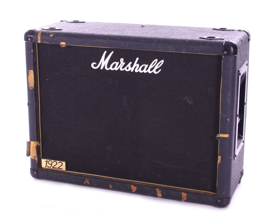 Lot Number 503. Bernie Marsden - Marshall 1922 2 x 12 guitar amplifier speaker cabinet, made in England, ser. no . 05592, fitted with a pair of Celestion G12T-75 12
