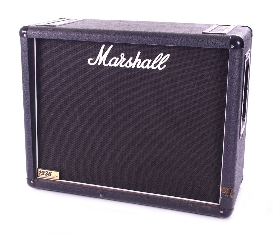 Lot Number 515. Bernie Marsden - Marshall 1936 guitar amplifier speaker cabinet, made in England, circa 2006, enclosing a pair of Celestion 12