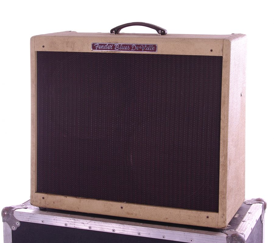 Lot Number 531. Bernie Marsden & Bob Johnson (Steeleye Span) - 1995 Fender Blues-Deville '212' guitar amplifier, made in USA, ser. no. T-066600, within a BSH Transit Case flight case bearing tape to the top inscribed 'Bernie Marsden #14A, Fender Blues Deville 2 x 12' *Used by Bernie Marsden for the 'Big Boy Blue' sessions and gigs. Previously owned by Bob Johnson of Steeleye Span. Auctioned at Entertainment Memorabilia, Guitar Amps & Effects - Including The Bernie Marsden Collection: Part I on 10th December 2020