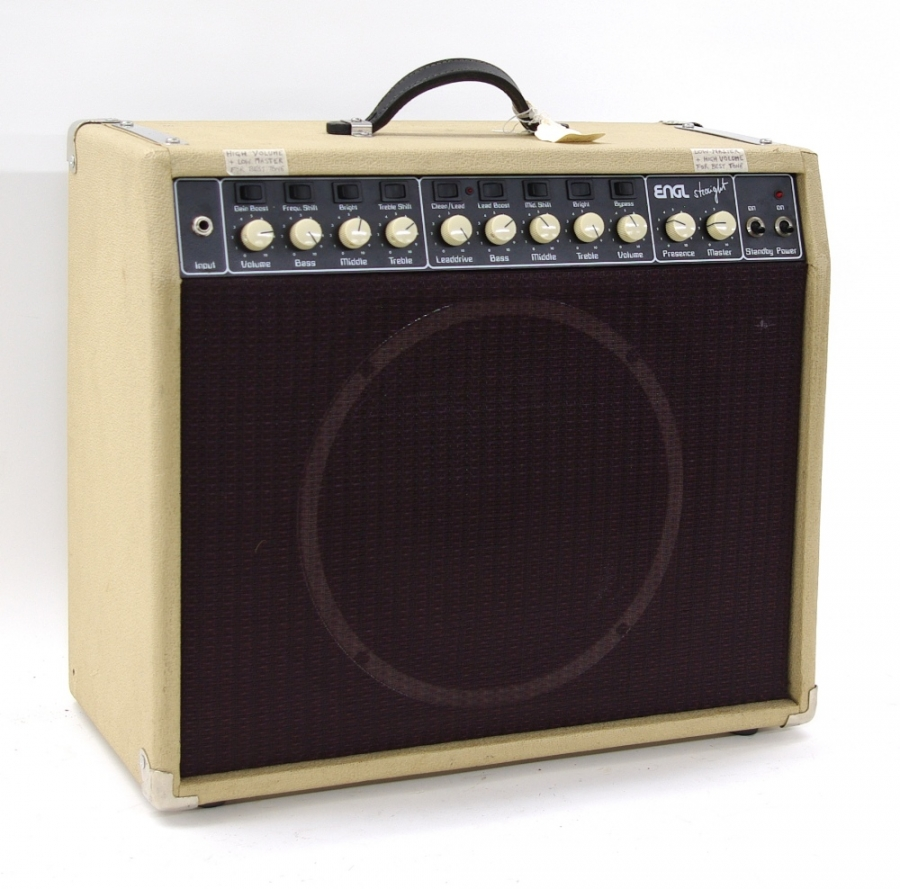 Lot Number 710. Engl Straight 100w model no. 502 (circa 1990), a 100w head in a unique custom-made 'Fender style' combo enclosure, Four 6L6 power tubes & Celestion G12T HOT 100 speaker, missing the original pedal, but has a Marshall footswitch that selects Clean/Lead channels (the on/off light is disabled to make it work) *The Straight model in 1985 was also a great success. Technically speaking it was a step back to a conventional two-channel amp - again, however with non-common features at that time, such as Lead Boost, Mid Shift and Bright switching. Above all, it had a massive gain on board, something like this didn't exist before. Especially with the guys of the harder pace this amp found many friends. Auctioned at Entertainment Memorabilia, Guitar Amps & Effects - Including The Bernie Marsden Collection: Part I on 10th December 2020