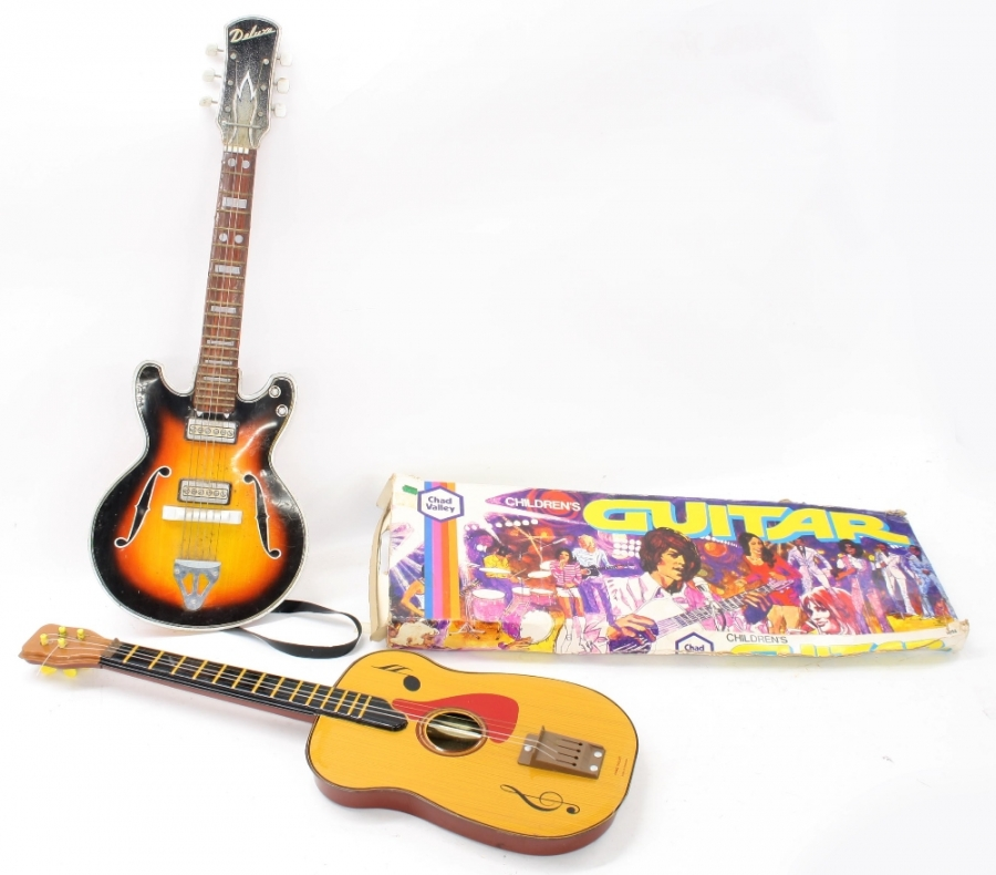 Lot Number 928. Vintage Chad Valley children's guitar, boxed. Auctioned at Entertainment Memorabilia, Guitar Amps & Effects - Including The Bernie Marsden Collection: Part I on 10th December 2020