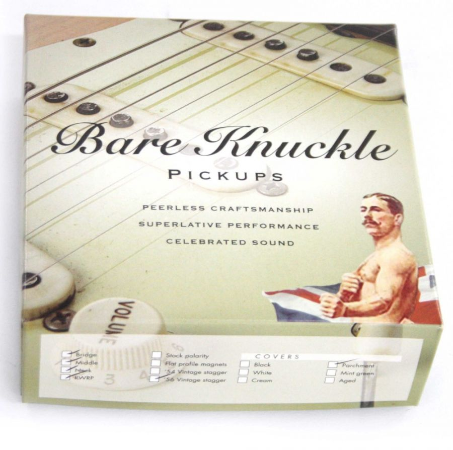 Lot Number 838. Bare Knuckle pickups single coil Strat guitar set, new and boxed. Auctioned at Vinyl, Memorabilia, Guitar Amps, Effects & Audio on 12th September 2019
