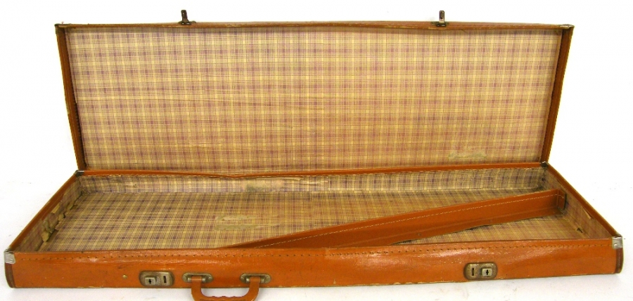 Lot Number 558. 1950s/early '60s fibre bass guitar case suitable for an old Burns bass guitar. Auctioned at The Guitar Auction on 14th December 2017