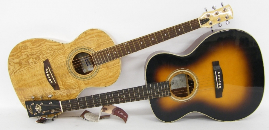 Lot Number 88. �Recording King R026SN acoustic guitar and a Garrison AGP-300 acoustic guitar, both in need of bridge attention/ reset(2). Auctioned at The Guitar Auction on 14th December 2017