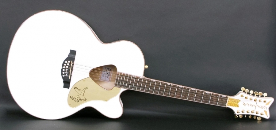 Lot Number 107. Gretsch Rancher Falcon G-5022 CWFE-12 twelve string electro-acoustic guitar, ser. no. IS14xxxx39, white finish, electrics in working order, condition: good. Auctioned at The Guitar Auction - Including the Perry Bamonte (The Cure) Collection on 14th September 2017