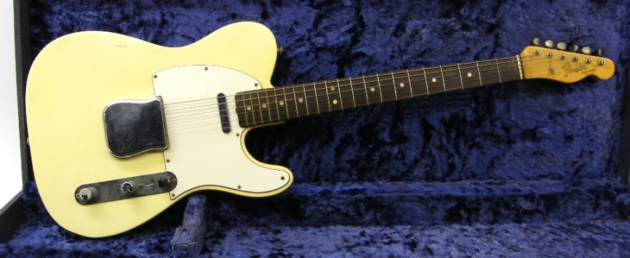 Lot Number 169. 1966 Fender Telecaster electric guitar, made in USA, ser. no. 1xxxx5, blond finish with typical wear for age including lacquer checking, blemishes and other minor imperfections, typical age wear to the metal hardware, frets worn and showing green oxidisation, electrics working although attention required to switch connection, Selmer issued hard case, condition: good for age *Sold with CITES article 10 certificate no. 555280/01 **Single owner from new. Auctioned at The Guitar Auction - Including the Perry Bamonte (The Cure) Collection on 14th September 2017