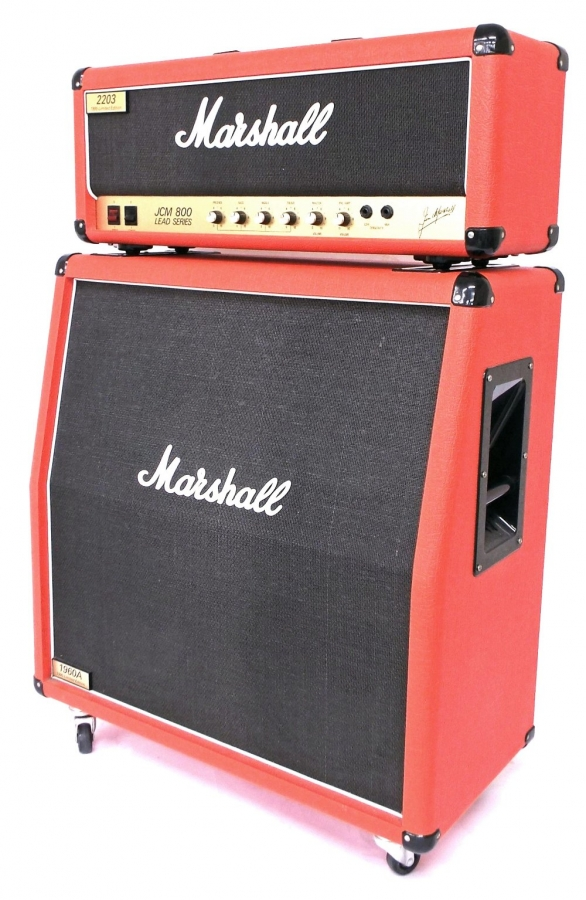 Lot Number 301. 1995 Marshall limited edition 2203 JCM800 lead series guitar amplifier with matching 1960A angled 4 x 12 speaker cabinet, made in England, ser. no. 957405511, red vinyl covering. Auctioned at The Guitar Auction - Including the Perry Bamonte (The Cure) Collection on 14th September 2017
