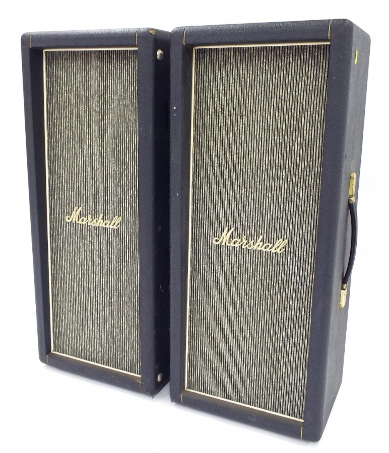 Lot Number 324. Pair of vintage Marshall 2 x 12 tower speakers, ser. nos. 6692 and 6698. Auctioned at The Guitar Auction - Including the Perry Bamonte (The Cure) Collection on 14th September 2017