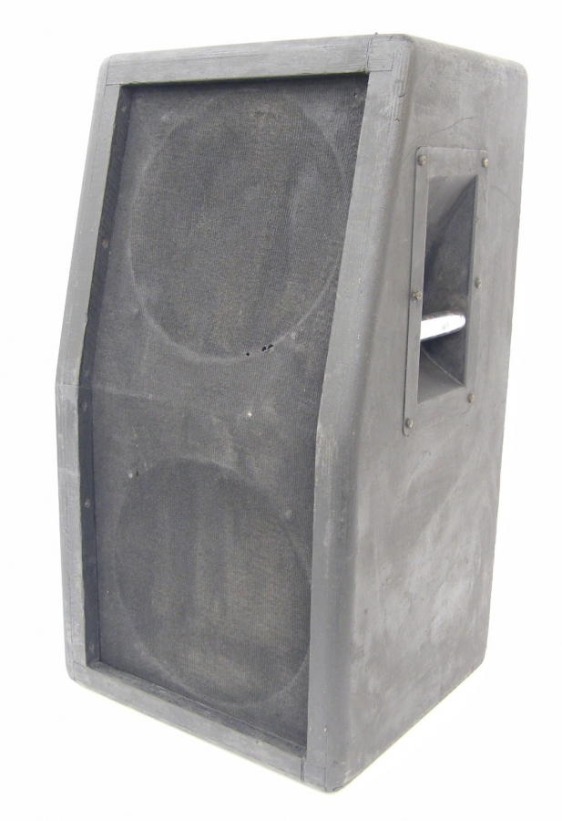 Lot Number 337. 2 x 12 angled speaker cabinet enclosing a pair Goodmans speakers (currently unwired). Auctioned at The Guitar Auction - Including the Perry Bamonte (The Cure) Collection on 14th September 2017