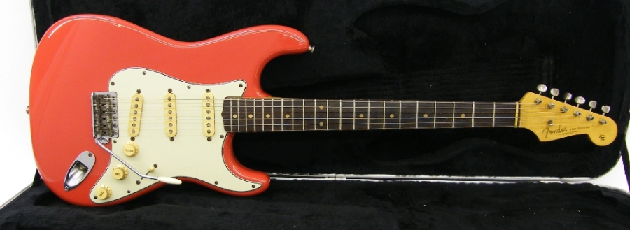 Lot Number 197. 1962 Fender Stratocaster electric guitar, made in USA, ser. no. 8xxx2, Dakota red refinish, re-fret, neck refinished, replaced scratchplate, repaired body route, replaced volume pot, later hard case, electrics in working order, condition: please enquire  *This guitar was purchased by the vendor in March 1993 from Nick Robertson & Slice, a college band who were active in the 1980s *Sold with CITES certificate no. 555113/01. Auctioned at The Guitar Auction - Including the Mark Griffiths (The Shadows) Collection on 15th June 2017
