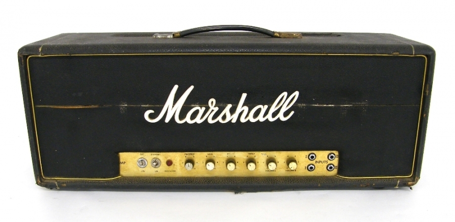 Lot Number 309. 1969/70 Marshall Super Bass 100W guitar amplifier head, made in England, ser. no. SV/A8947A, various replaced parts including Marshall logo *Recently serviced by Martin Cooper Technical, Nottingham, service report available on request. Auctioned at The Guitar Auction - Including the Mark Griffiths (The Shadows) Collection on 15th June 2017