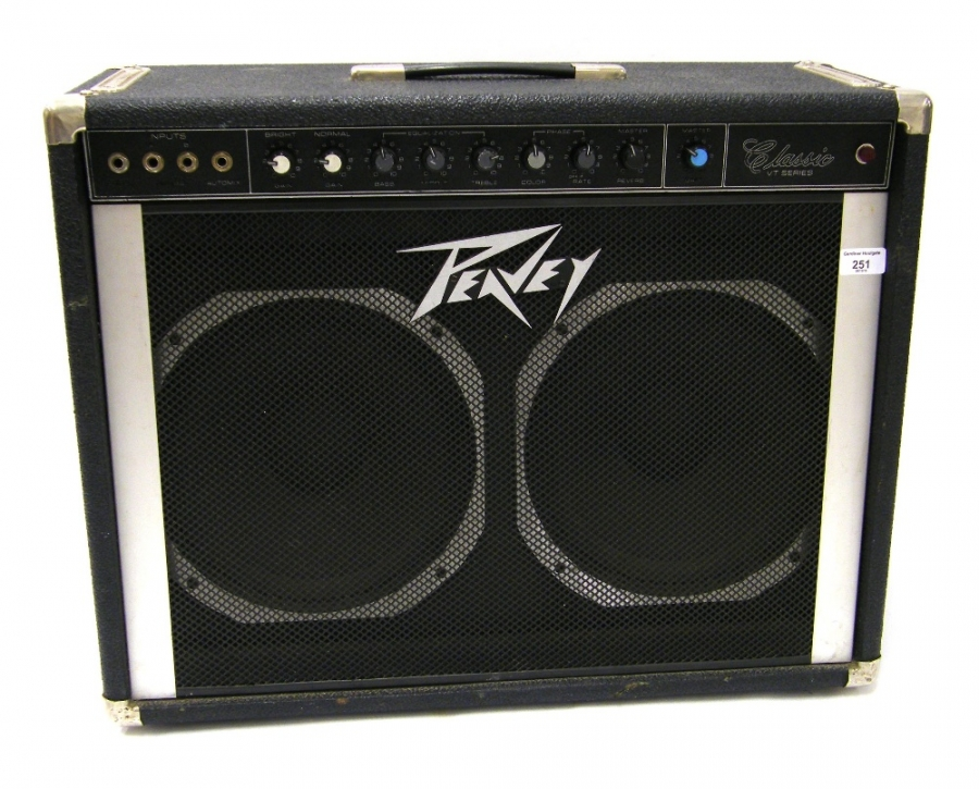 Lot Number 251. Peavey VT series 212 classic guitar amplifier, made in USA, with Scorpion speakers, appears to be in working order. Auctioned at The Guitar Auction on 8th December 2016