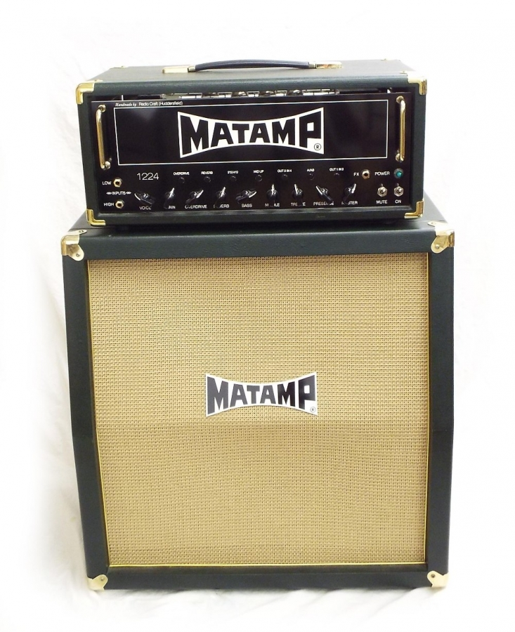 Lot Number 277. Matamp 1224 amplifier head unit, with matching 2120 speaker cabinet, green leather exterior, appears to be in working order, both with original dust cover. Auctioned at The Guitar Auction on 8th December 2016