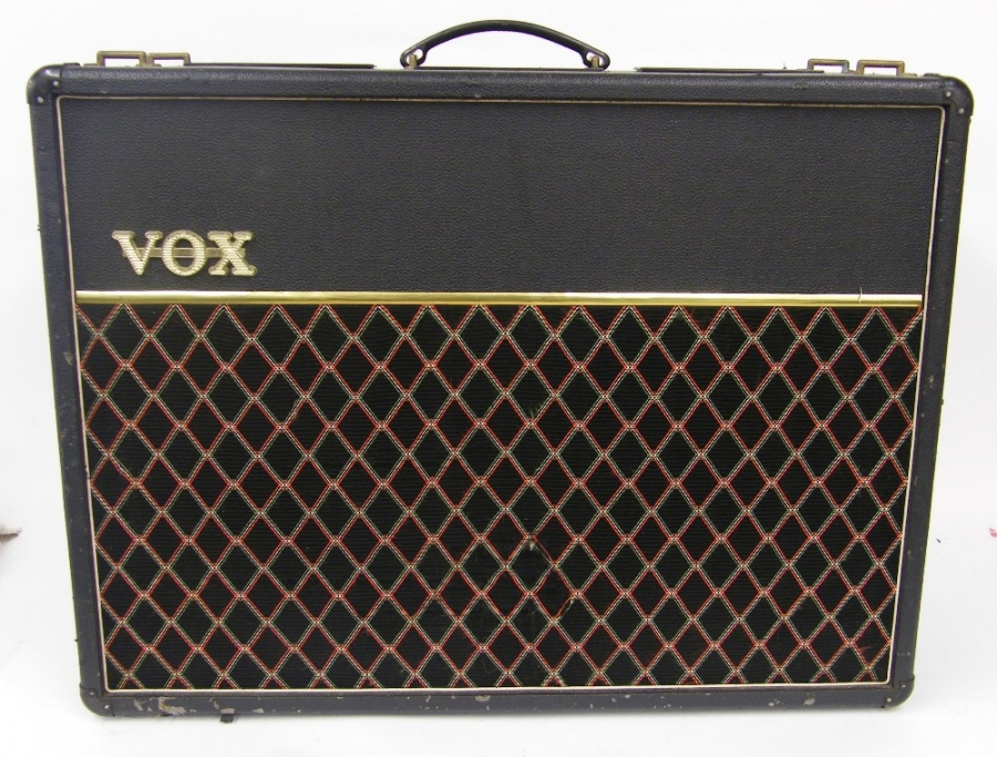 Lot Number 278. 1980s Vox AC30 Top Boost guitar amplifier, with Celestion G12T-75 speakers, appears to be working although could benefit from a service as the 'Brilliant' channel does not appear to reach full volume. Auctioned at The Guitar Auction on 8th December 2016