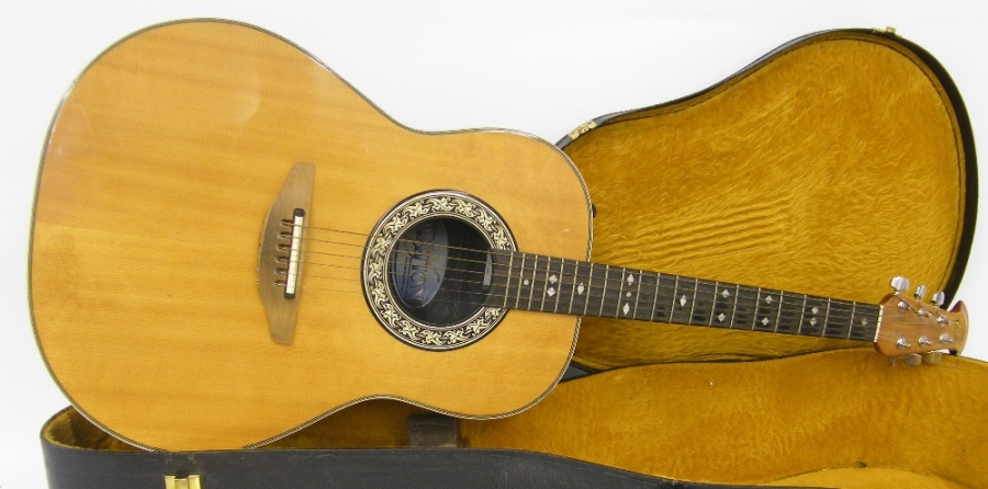 Lot Number 59. 1983 Ovation model 1612 electro-acoustic bowl back guitar, made in USA, ser. no. 2xxxx6, with synthetic bowl back, natural top with minor surface marks, semi-hard case, condition: good. Auctioned at The Guitar Auction on 8th December 2016