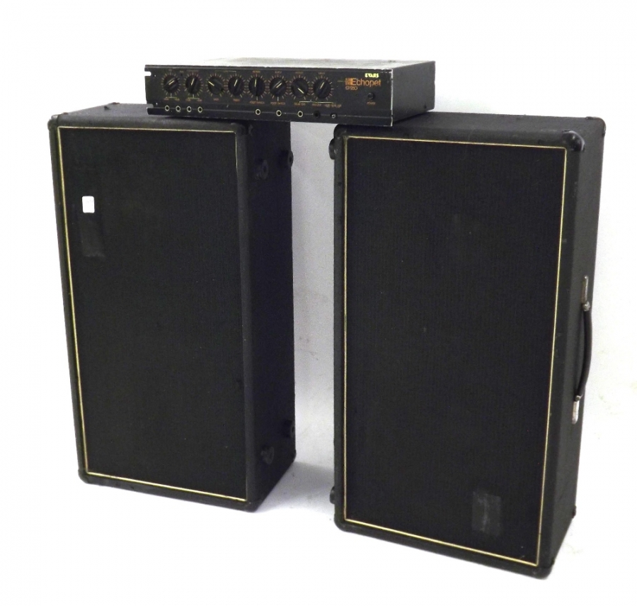 Lot Number 322. 2 x 12 speaker cabinet enclosing a pair of Goodmans Audiom 12 speakers, appears to be in working order. Auctioned at The Guitar Auction on 15th September 2016