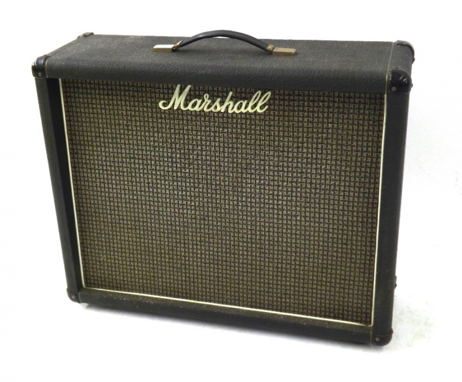 Lot Number 323. Vintage Marshall twin speaker guitar amplifier cabinet, ser. no. A04618, enclosing a pair of Celestion G12H speakers. Auctioned at The Guitar Auction on 15th September 2016