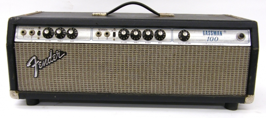 Lot Number 331. 1975/6 Fender Bassman 100 guitar amplifier head unit, made in USA, chassis no. B10316, silver face, additional speakon output added, appears to be in working order. Auctioned at The Guitar Auction on 15th September 2016