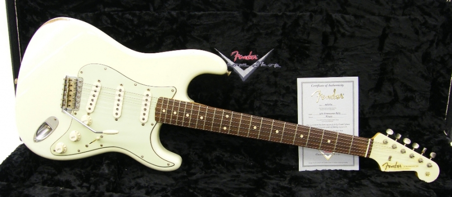 Lot Number 67. 2005 Fender Custom Shop 1960 Relic Stratocaster electric guitar, made in USA, ser. no. R2xxx9, made for the Fender stand at the 2005 NAMM Show, custom colour finish with matching headstock, electrics appear to be in working order, hard case with certificate of authenticity, condition: good. Auctioned at The Guitar Auction on 15th September 2016