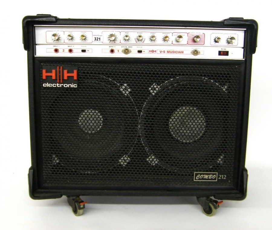 Lot Number 321. HH Electronic V-S Musician Combo 212 guitar amplifier, made in England, ser. no. 17400, appears to be in working order. Auctioned at The Guitar Auction on 10th December 2015
