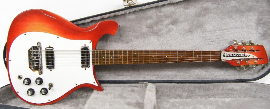 Lot Number 59. 1967 Rickenbacker 450/12 twelve string electric guitar, made in USA, ser. no. GE2559, Fireglo finish with some mild wear, checking to lacquer on the fretboard, electrics appear to be in working order, contemporary hard case, condition: good. Auctioned at The Guitar Auction on 10th December 2015