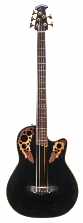 Lot Number 108. Huw Lloyd-Langton - Ovation Celebrity CS275 electro-acoustic five string bass guitar, made in Korea, ser. no. 1047228. Auctioned at The Guitar Sale - Including The Pete Overend Watts & Huw Lloyd Langton Collections on 13th March 2019