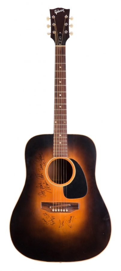 Lot Number 124. Maurice Gibb (Bee Gees) - artist signed early 1970s Gibson J45 acoustic guitar, used to compose Jive Talkin'. Auctioned at The Guitar Sale - Including The Pete Overend Watts & Huw Lloyd Langton Collections on 13th March 2019