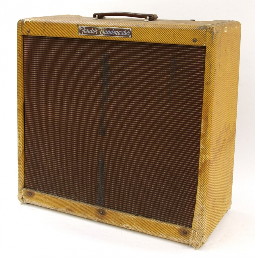 Lot Number 132. Johnny Marr (The Smiths) - Fender Bandmaster guitar amplifier, made in USA, circa 1960, no. S03557 *Purchased by the vendor through Johnny Marr's guitar tech, Richard Henry, in March 2012. Sold with a signed letter of provenance stating 'This Fender Bandmaster amp (S03557#) has been mine since 1986 and was used on The Queen is Dead & Strangeways Here We Come as well as other subsequent recordings here and there...all the best Johnny Marr, March 2012'.  Also accompanied with two photographs of Johnny Marr standing with the amp. Auctioned at The Guitar Sale - Including The Pete Overend Watts & Huw Lloyd Langton Collections on 13th March 2019