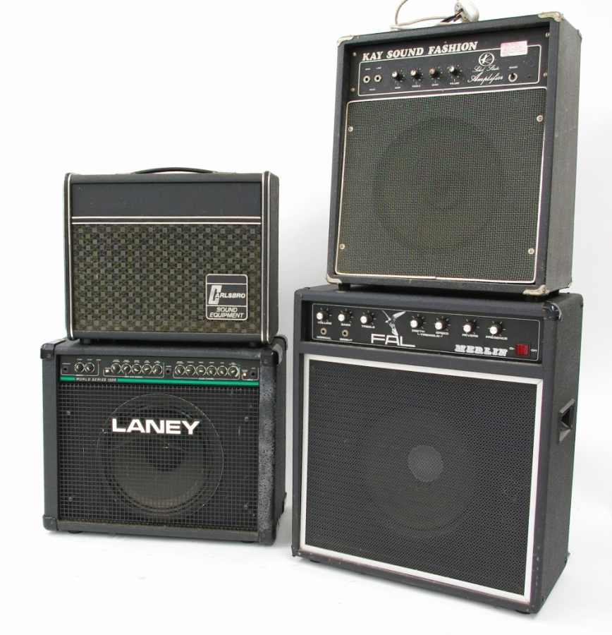 Lot Number 613. Pete Overend Watts (Mott the Hoople) - four guitar amplifiers, including a Laney World Series 120R, a Fal Merlin, a Kay Sound Fashion and a Carlsbro (4) *THE CARLSBRO HAS BEEN WITHDRAWN FROM THIS LOT*. Auctioned at Memorabilia, Guitar Amps, Effects & Audio Including the Pete Overend Watts Collection on 14th March 2019