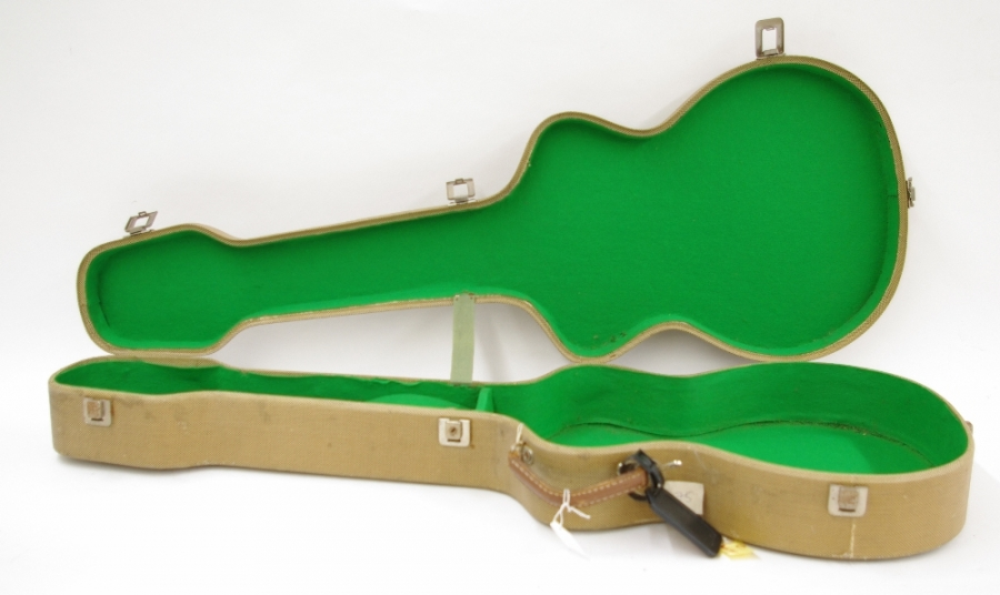 Lot Number 802. Pete Overend Watts (Mott the Hoople) - 1950s/60s Selmer/Hofner tweed guitar hard case. Auctioned at Memorabilia, Guitar Amps, Effects & Audio Including the Pete Overend Watts Collection on 14th March 2019