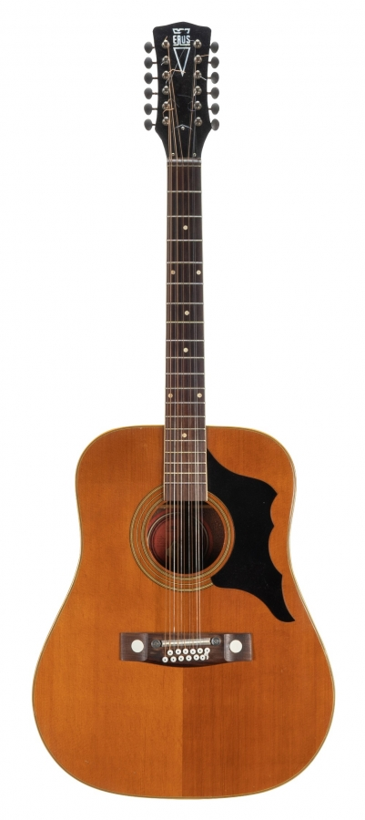 Lot Number 49. 1970s Eros 14228 twelve string acoustic guitar in need of attention (bridge plate slightly lifting to one side), hard case. Auctioned at The Guitar Sale on 12th June 2019