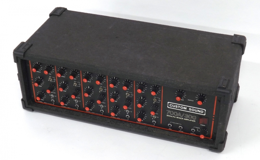 Lot Number 1008. Custom Sound 700A/300 PA mixer amplifier. Auctioned at Memorabilia, Guitar Amps, Effects & Audio on 13th June 2019