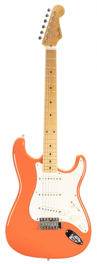 Lot Number 604. Hank Marvin - autographed 1990s Fender Hank Marvin Signature Stratocaster electric guitar, crafted in Japan, ser. no. A016007. Auctioned at Memorabilia, Guitar Amps, Effects & Audio on 13th June 2019