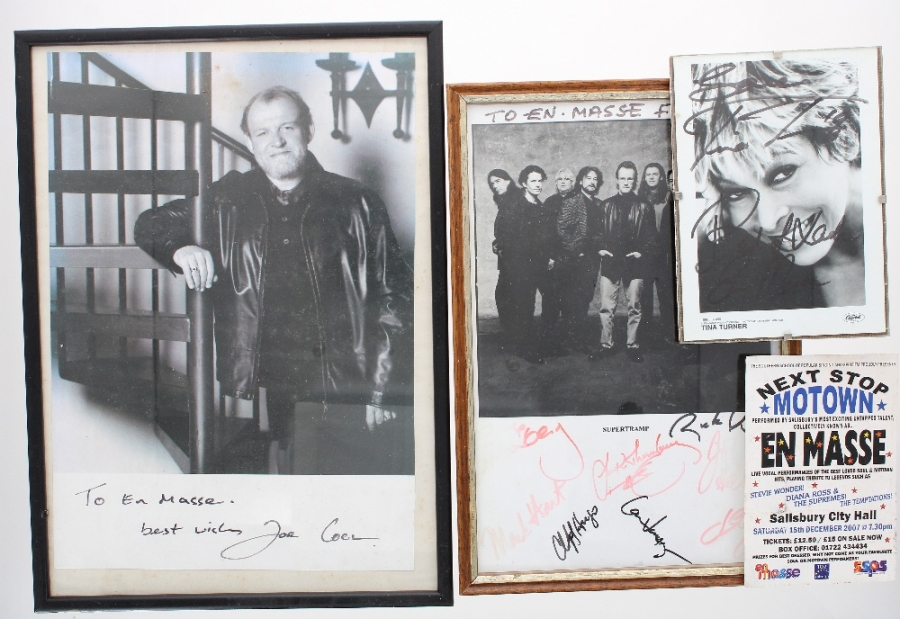 Lot Number 630. Three autographed framed pictures of Supertramp, Joe Cocker and Tina Turner, all made out to Salisbury's 'En Masse' and sold with a flyer for an En Masse performance at The Salisbury City Hall on 15th December 2007. Auctioned at Memorabilia, Guitar Amps, Effects & Audio on 13th June 2019