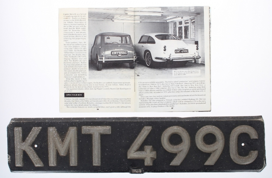 Lot Number 696. George Harrison - the original number plate (KMT 499C) from George Harrison's 1960s Aston Martin DB5, sold with 'The Beatles Book', March 1992, where the car can be seen bearing the registration on page 37 *Sold with a letter to the vendor detailing the history of the number plate: 'I am writing you this letter to confirm my history with the number plate.  This is the original black number plate with silver characters from George Harrison's first Aston Martin DB5 issued to the vehicle upon registration.  The car was built in 1964 and delivered to then Beatle George Harrison on January 1st 1965.  The plates were changed at Arnold G Wilson in Yorkshire in the early 1970s when reflective registration plates became the legal standard.  The number plate was then passed onto my father who had a barber shop at the time and was known for collecting car memorabilia and was given to him by a customer for a return for a lifetime's free haircuts.  It has remained in the family home ever since.  The front plate was in Cherry Tree pub in Leeds for several years.  Kind regards Howard Storey'. Auctioned at Memorabilia, Guitar Amps, Effects & Audio on 13th June 2019