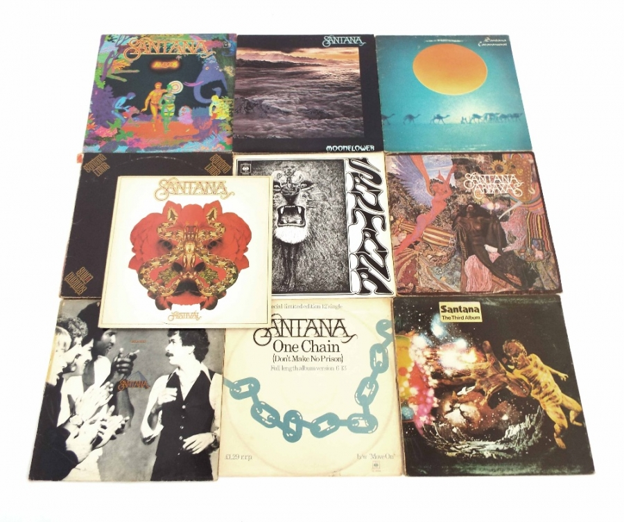 Lot Number 715. Santana - ten vinyl LP records, first four 63015, 64087, 69015, 65299 and Lotus, LBS 66325 (81047/48/49) and others, all vinyl EX, covers vary. Auctioned at Memorabilia, Guitar Amps, Effects & Audio on 13th June 2019