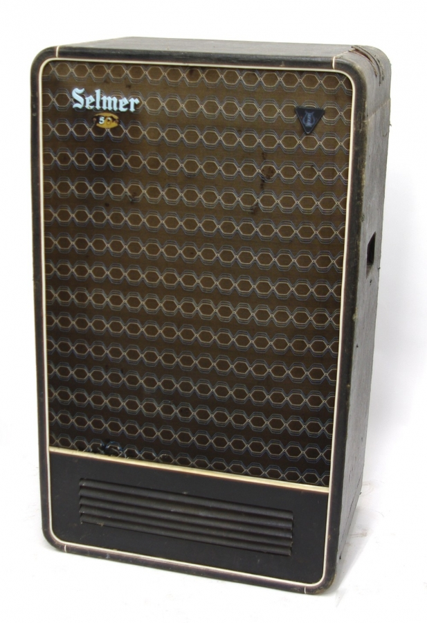 Lot Number 797. Selmer 50 bass guitar amplifier speaker cabinet, made in England, ser. no. 47273. Auctioned at Memorabilia, Guitar Amps, Effects & Audio on 13th June 2019