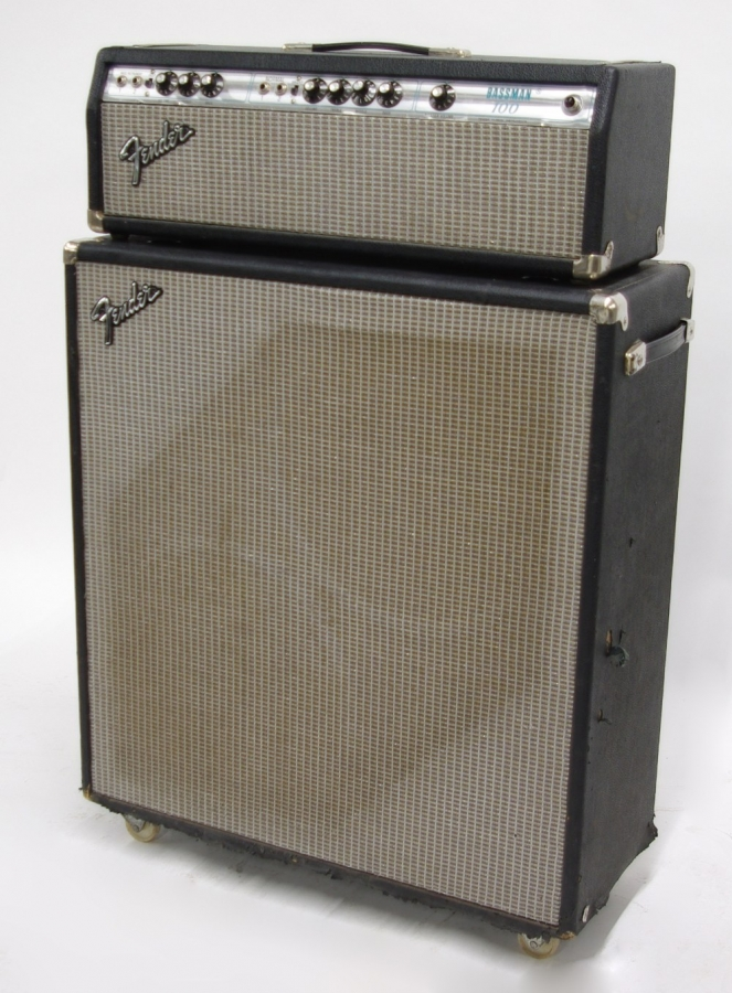 Lot Number 798. 1970s Fender Bassman 100 guitar amplifier head, made in USA, ser. no. B21563 with matching Bassman 50 twin speaker cabinet. Auctioned at Memorabilia, Guitar Amps, Effects & Audio on 13th June 2019