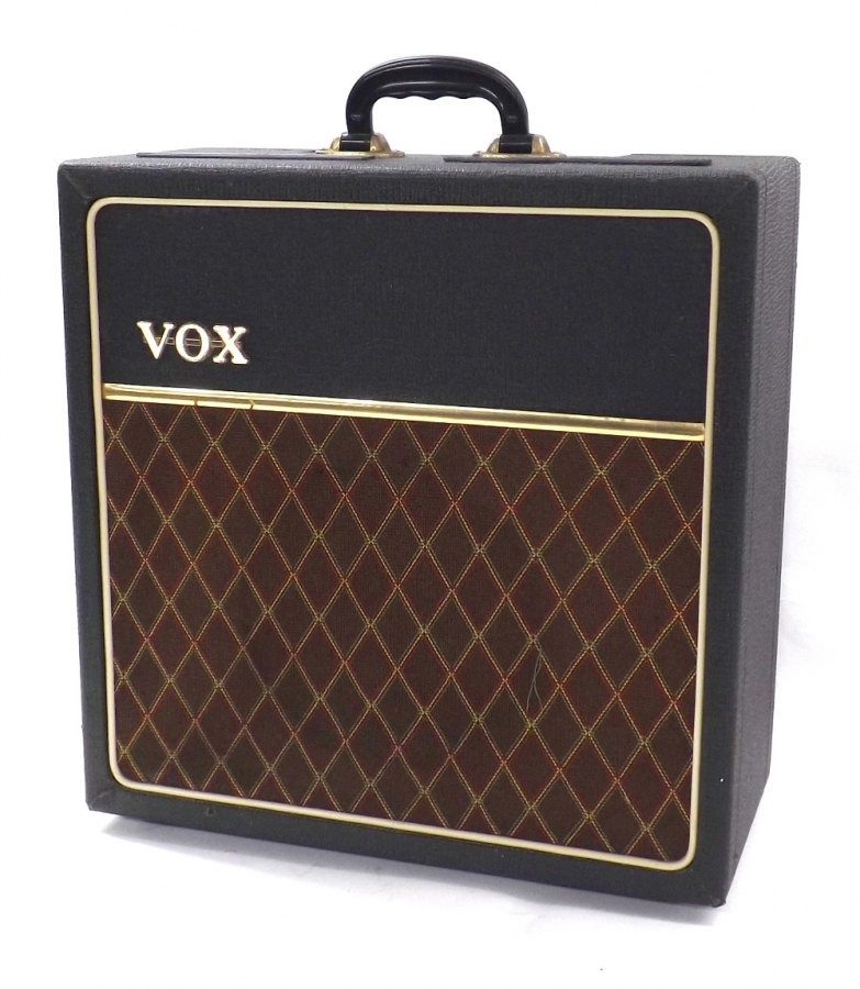 Lot Number 831. Vox AC4 guitar amplifier, made in England, circa 1964, ser. no. 03768, on/off switch placed to the left side of the cabinet bypassing the original control panel knob switch. Auctioned at Memorabilia, Guitar Amps, Effects & Audio on 13th June 2019