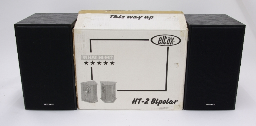 Lot Number 1079. Eltax HT-2 bipolar hifi speakers, boxed. Auctioned at The Tears for Fears Collection, Guitar Amplification, Spares & Audio on 13th December 2018