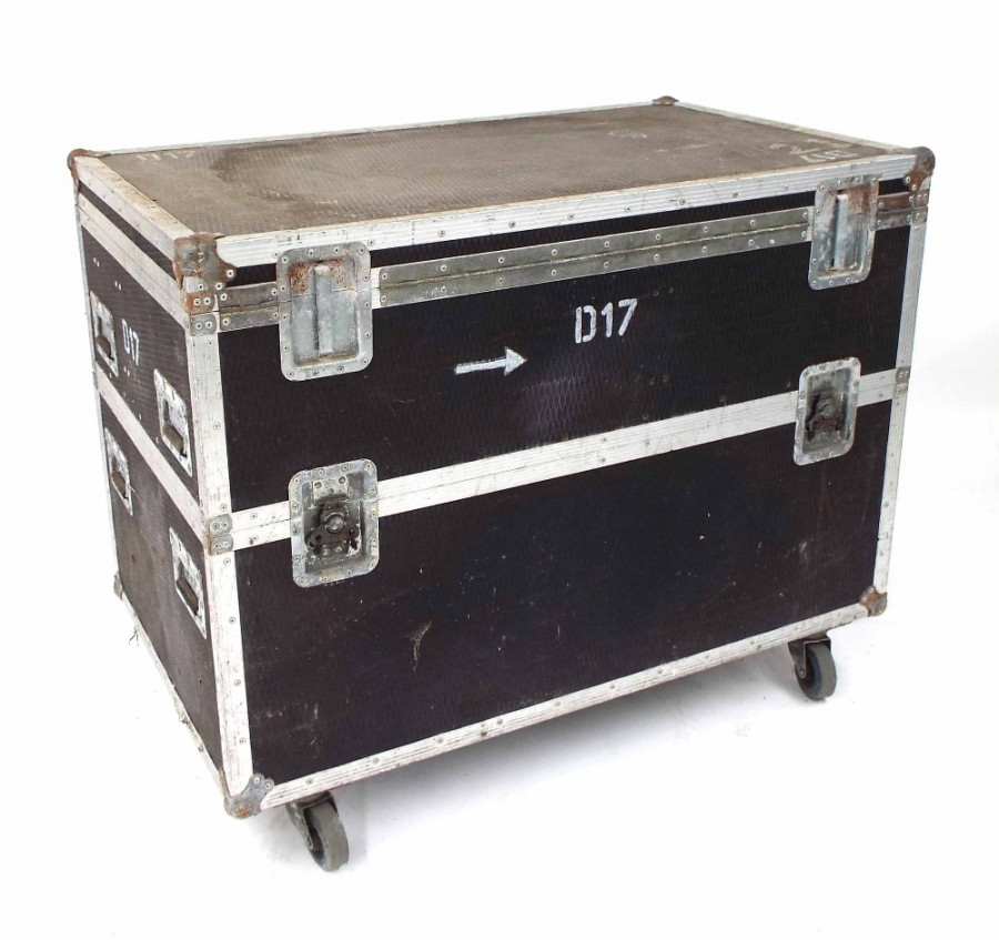 Lot Number 703. Large Bulldog Cases flight case on wheels, no. D17, originally used to carry a Mapex drum kit, 38